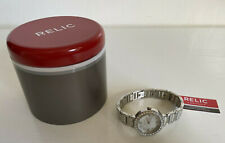 NEW! RELIC KERRI CRYSTAL-ACCENT STAINLESS STEEL SILVER BRACELET WATCH $90 SALE