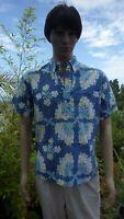 Kahala Hawaii Aloha Shirt Hawaiian Quilt Hibiscus Blue Green Yellow White Medium