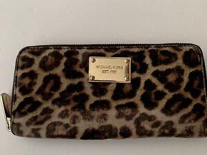 Michael Kors  Leopard Print Calf Hair Continental Wallet