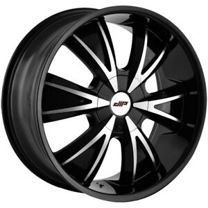 "Dip D38 Vibe 24x9.5 5x4.5""/5x120 +18mm Black/Machined Wheel Rim 24"" Inch"
