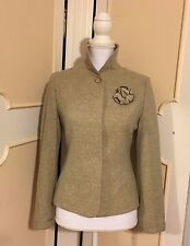 FROM 25 LANCY TWEED FLOWER EMBELLISHED WOOL BLEND FITTED JACKET/ BLAZER~ SMALL