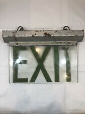 Reclaimed Art Deco Metal Illuminated Etched Glass EXIT Sign