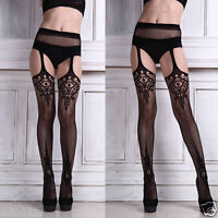 Sexy Womens Lingerie Net Lace Top Garter Belt Thigh Stocking Pantyhose Nightwear