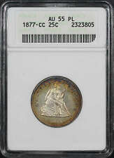 1877-CC Seated Liberty Silver Quarter ANACS AU-55 PL 1st Gen Holder