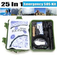 25Pcs SOS Survival Emergency Gear Self Help Outdoor Camping Hiking Too /m #t *f