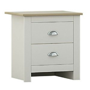 FW STYLE Cream 2 Drawer Bedside Cabinet Chest  Cup Handles Light Oak Top