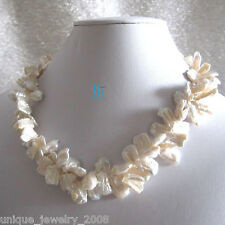 "18"" 9-15mm White 2Row Keshi Freshwater Pearl Necklace Keshi Pearl F"