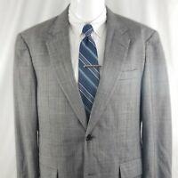 Jos. A. Bank Men's 44 R 2 Button Windowpane Wool Gray Sport Coat Suit Jacket