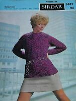 Original Vintage Sirdar Crocheting Pattern Lady's Sweater  No 2482