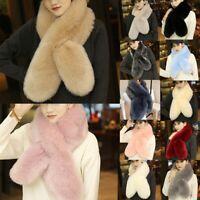 Women Ladies Faux Fur Scarf Neck Long Soft Winter Warmer Wrap Collar Shawl Stole