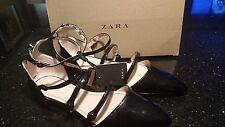 Zara flat shoes ankle/straps