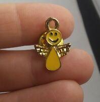 Vintage ANGEL ON MY SHOULDER Smiley Face Peace brooch pinback button pin *KK