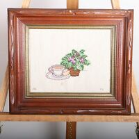 Tea Cup and Flowers Needlepoint Framed Wall Hanging Picture Embroidery Vintage