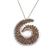 Fancy Color Brown Diamond Cluster Spiral Pendant 14k Rose Gold 4.73Ct