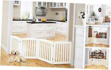 Pawland Wooden Freestanding Foldable Pet Gate for Dogs, 24 inch 4 White 4 Panel