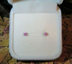 SALE! Sweet genuine natural Pink Sapphire 2.9mm sterling silver stud earrings 💖