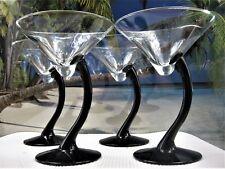4 PC MARTINI GLASSES UNIQUE BLACK GLASS STEMMED GLASSEWARE