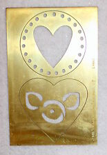 LASTING IMPRESSIONS Circle Heart Flower Brass Stencil NEW Airbrush Emboss B35