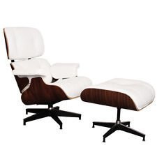 Fauteuil Lounge chair 100% cuir avec Ottoman ,  Blanc  Rosewood