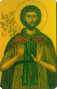 "Orthodox Icon Prayer Card -St Euphrosynos the Cook (2.2"" x 3.4"") Durable Plastic"