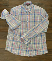 NEW NWOT Michael Kors Men's Blue Pink Check Dress Shirt Large