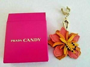PRADA Flower Key Chain Ring holder Hand Bag Purse CHARM Choose color New in Box