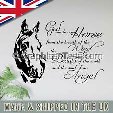 Horse Wall Sticker Quote, God Made a Horse, Equestrian Vinyl Mural Decor Decal