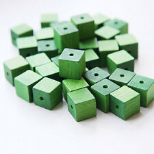 20pcs Wood Beads - Square - Cube - Green 10mm