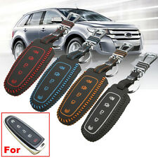 5 Button Leather Remote Key Shell Case Holder For Ford Edge Explorer MKX Escape