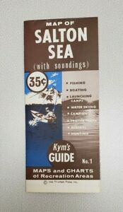 1968 Salton Sea Vintage Map / Brochure - Southern California - Kym's Guide
