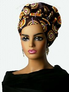 4(and more) in 1 African headwrap Bonnet satin(inside, African fabric (outside)