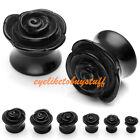 Pair Acrylic Black Rose Saddle Flared Ear Plugs Expander Stretcher HOT Gauges EY