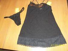 Black Sexy Sheer Chiffon Negligee Set With Lace Effect Trims Size 10/12