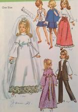 Vtg Simplicity 6697 Sew Pattern Barbie Fashion Doll Clothes Wardrobe Wed Dress