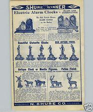 1907 PAPER AD Electric Flash Light Bank Alarm Clock Enameled Iron Mantel Clocks