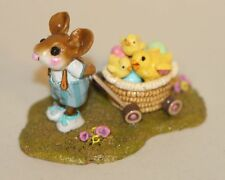 Wee Forest Folk Chock Full of Chicks M-340b Easter Mouse Basket Cart Chicks