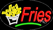 """NEW """"FRIES"""" 30x17 OVAL SOLID/FLASH REAL NEON SIGN w/CUSTOM OPTIONS 14345"""