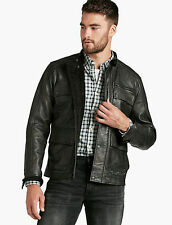 NEW LUCKY BRAND MENS MANX BLACK LEATHER JACKET MEN'S SIZE SMALL