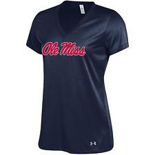 Under Armour NCAA Women's Ole Miss Rebels Tech V-Neck Tee Navy Blue Large L