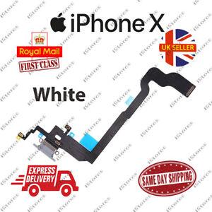 New iPhone X 10 Charging Port Flex Headphone Jack Mic Replacement White