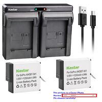 Kastar Battery Slim Dual Charger Replace Genuine Gopro AHDBT-501 Hero 5 HD Black