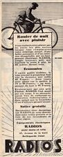 RADIOS LAMPE DYNAMO POUR VELO BICYCLE LIGHT PUBLICITE 1928 FRENCH AD