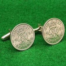 British Sixpence Coin Cufflinks, King George VI Lucky Wedding UK English 6d