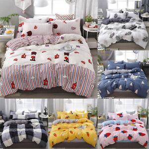 Soft Floral Quilt Duvet Cover Set Flat Sheet Pillowcase Bedding Set Home Trendy