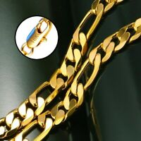 """18k Yellow Gold Mens Womens 20"""" Italian Figaro 8mm Link Chain Necklace D292"""