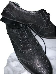 7.5 Black Leather Lace Up Oxfords Designer Stuart Weitzman