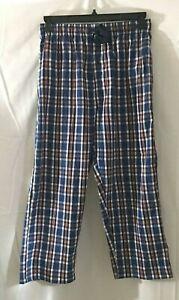 Hanes Mens Blue Red Plaid Pajama Bottom Lounge Pants Drawstring Waist Size M