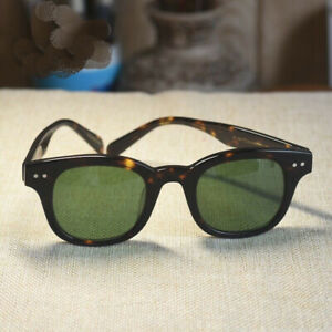 Retro Japan handmade sunglasses acetate tortoise frame green glass lens unisex