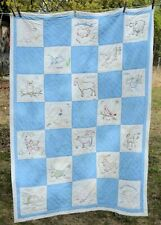 "vtg Baby Quilt Hand Embroidered Nursery Rhyme Quilted 46x62"" Signed in squares"