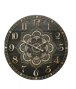 Mandala Timber Clock Black and Brown 58cm